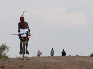 Samburu Warrior on a Bicycle