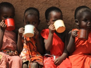 Children during Milk Break at Olng'arua School