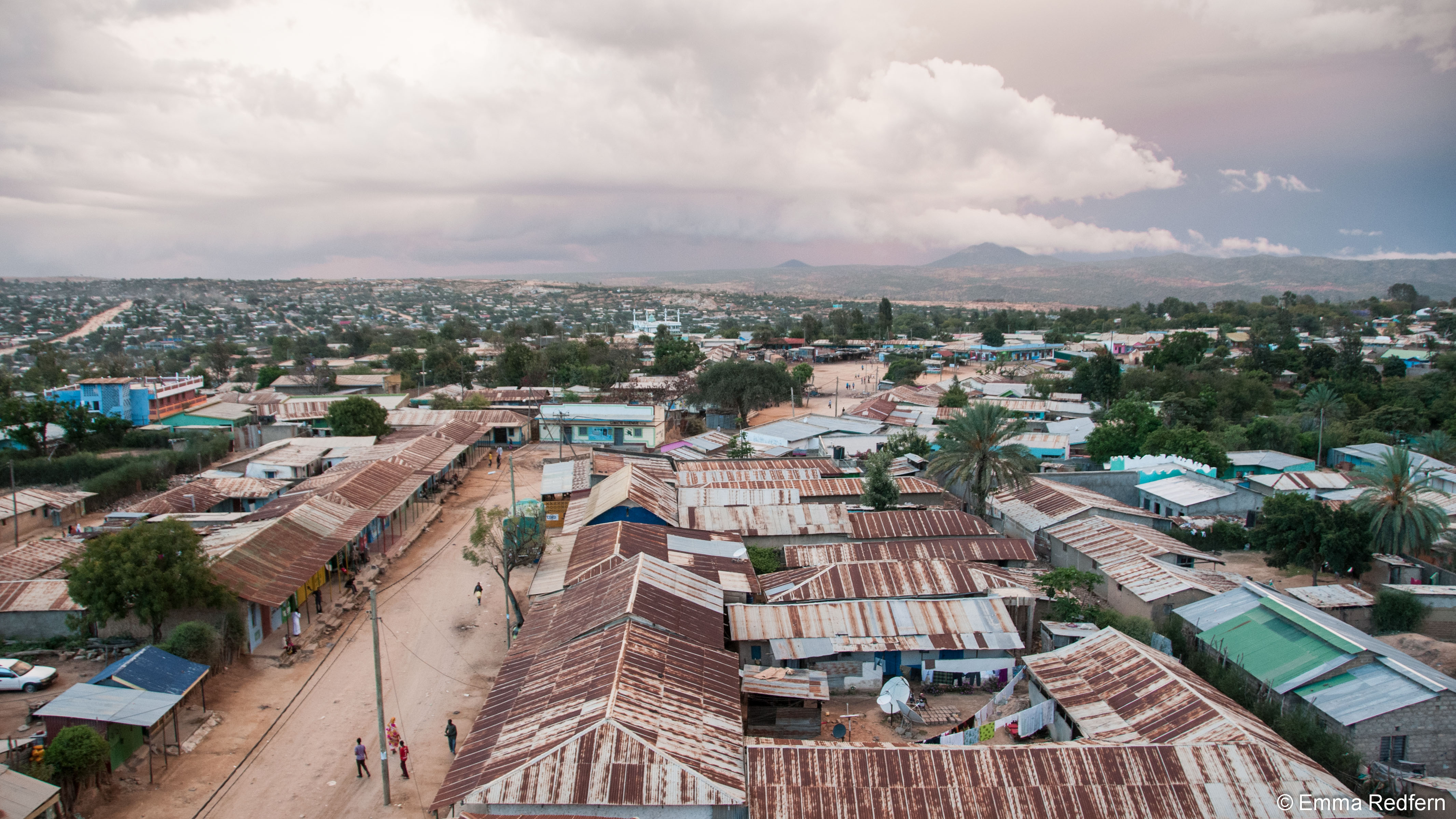 Storm approching Moyale at Sunset