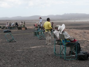Solar eclipse watchers on Lake Turkana