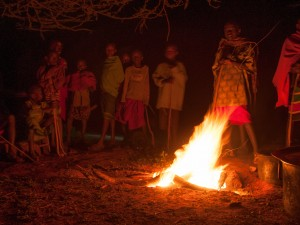 Young Maasai Boys around the Fire