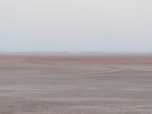 Desert fades to sky