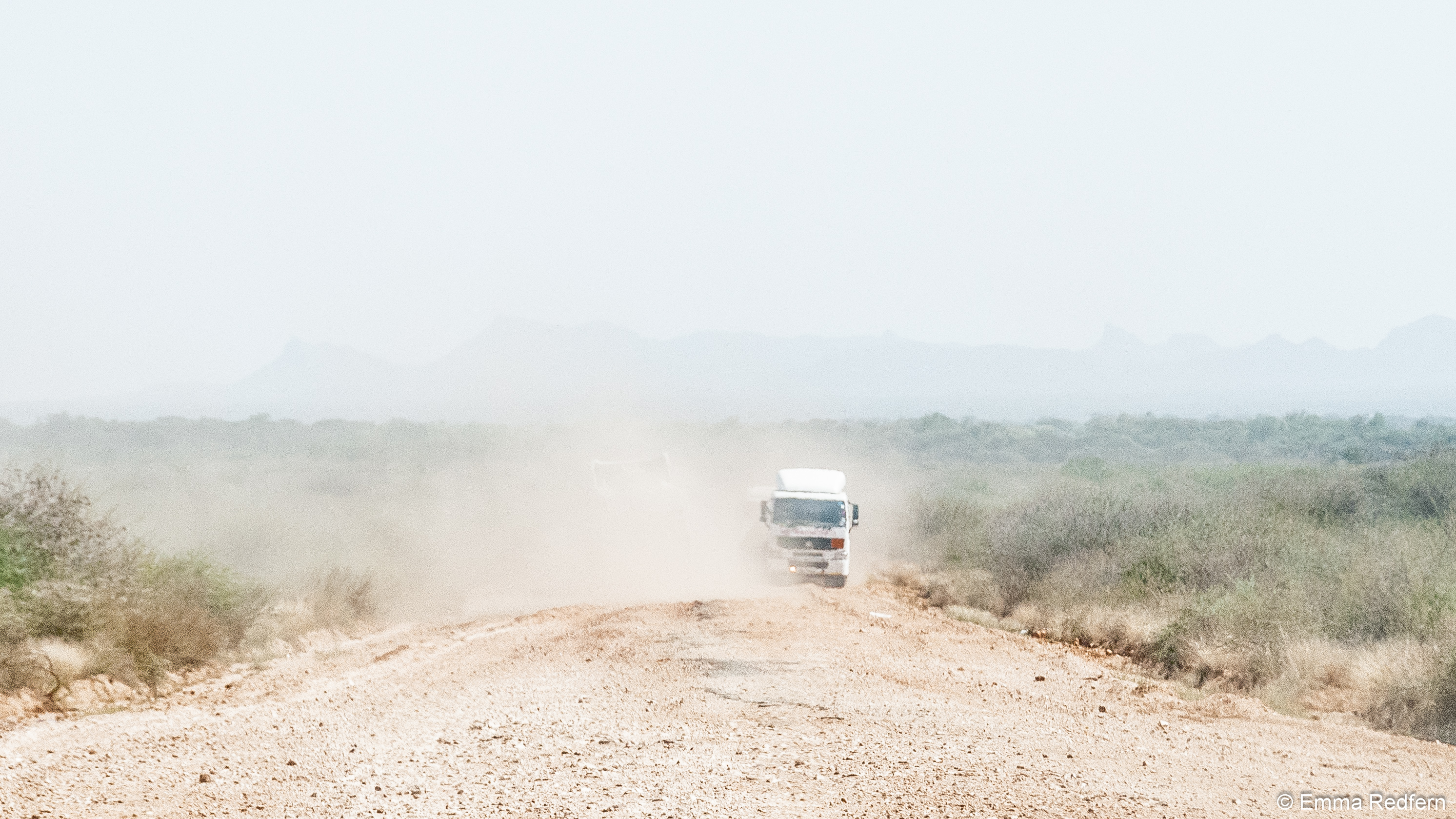 Trucks on the road to Lodwar