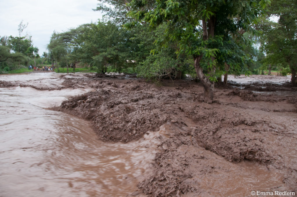 Isiolo river flooded with silt laden water