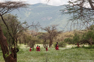 Children walking through a meadow of grass and flowers - Isiolo County